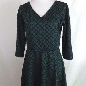 RONNI NICOLE GREEN BLACK MOCK WRAP DRESS SIZE 10
